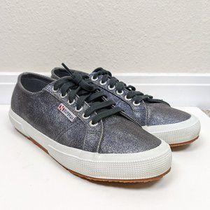Superga Metallic Lace Up Sneaker Onyx Gray 8.5